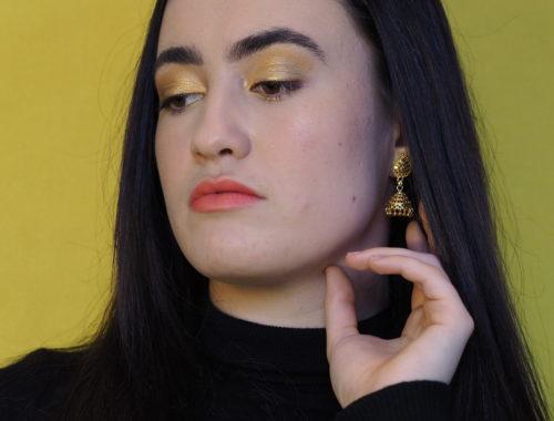 Maquillage des yeux jaune sur Inès